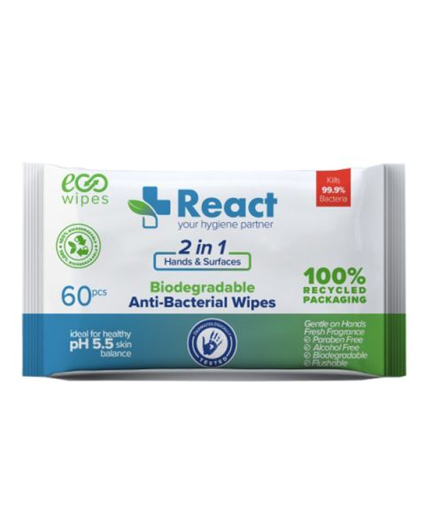 React Anti-Bacterial Surface Wipes (60 Pack) Biodegradable