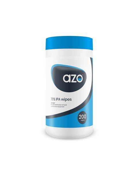Azo Wipes 70% IPA Disinfectant wipes - tub of 200 (12 Pack)