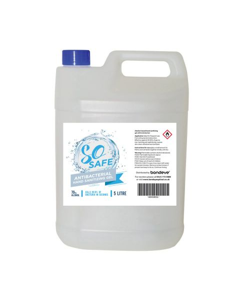 SO Safe 70% Alcohol Anti-Bacterial sanitiser Hand Gel (5ltr)