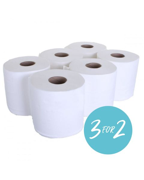 White 2 Ply Centrefeed rolls 400 Sheet - 6 Pack