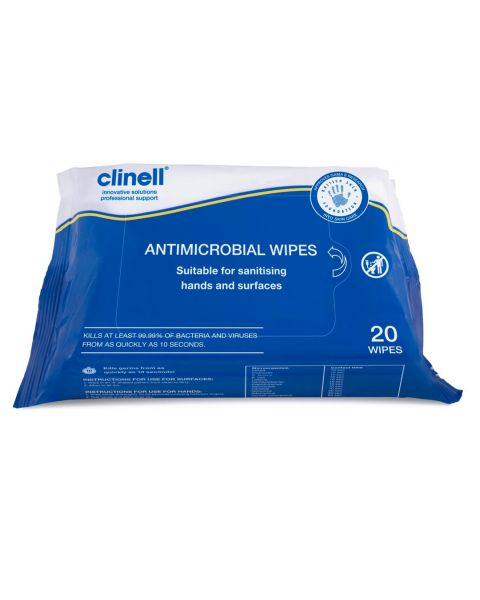 Clinell Antimicrobial Wipes (20 Pack) Surface & Hand Wipes