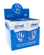 Clinell Anti-Bacterial Hand Wipes (Box 100 individual wipes)
